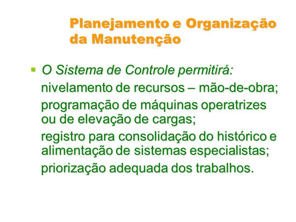 Planejamento e Organização da Manutenção O Sistema de Controle permitirá: O Sistema de Controle permitirá: nivelamento de recursos – mão-de-obra; nive