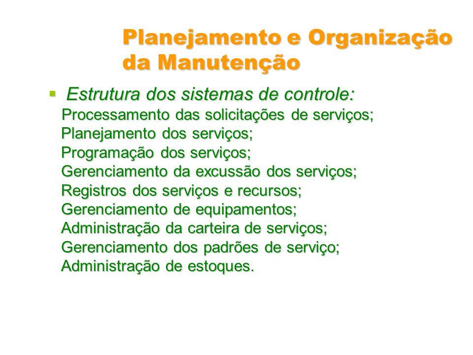 Planejamento e Organização da Manutenção Estrutura dos sistemas de controle: Estrutura dos sistemas de controle: Processamento das solicitações de ser