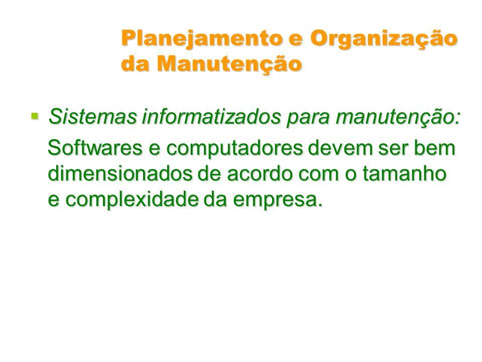 Planejamento e Organização da Manutenção Sistemas informatizados para manutenção: Sistemas informatizados para manutenção: Softwares e computadores de
