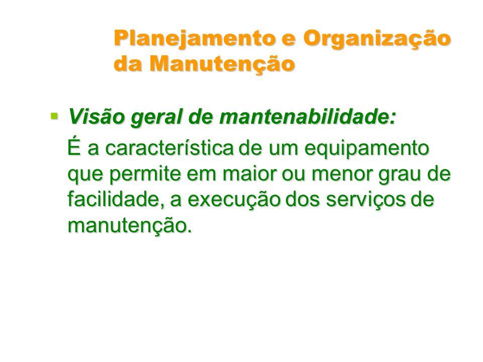 Planejamento e Organização da Manutenção Visão geral de mantenabilidade: Visão geral de mantenabilidade: É a característica de um equipamento que perm