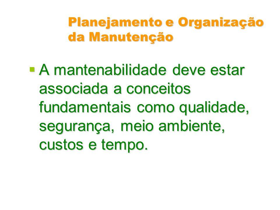 Planejamento e Organização da Manutenção A mantenabilidade deve estar associada a conceitos fundamentais como qualidade, segurança, meio ambiente, cus