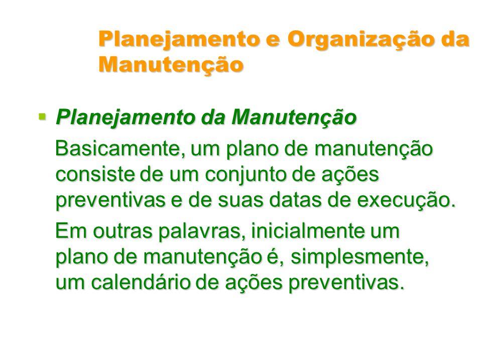 Planejamento e Organização da Manutenção Planejamento da Manutenção Planejamento da Manutenção Basicamente, um plano de manutenção consiste de um conj