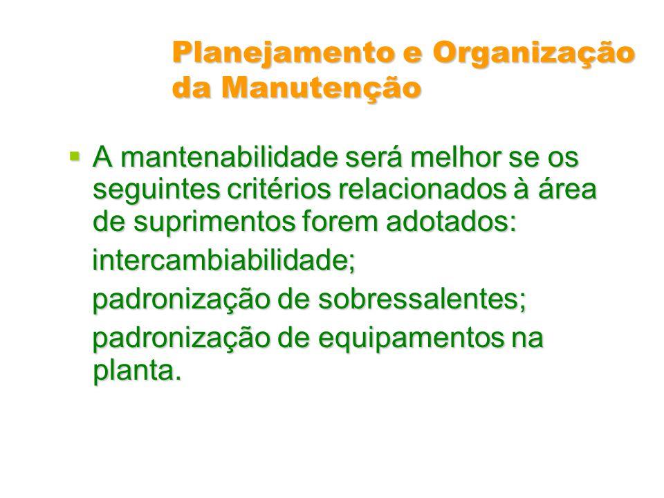 Planejamento e Organização da Manutenção A mantenabilidade será melhor se os seguintes critérios relacionados à área de suprimentos forem adotados: A