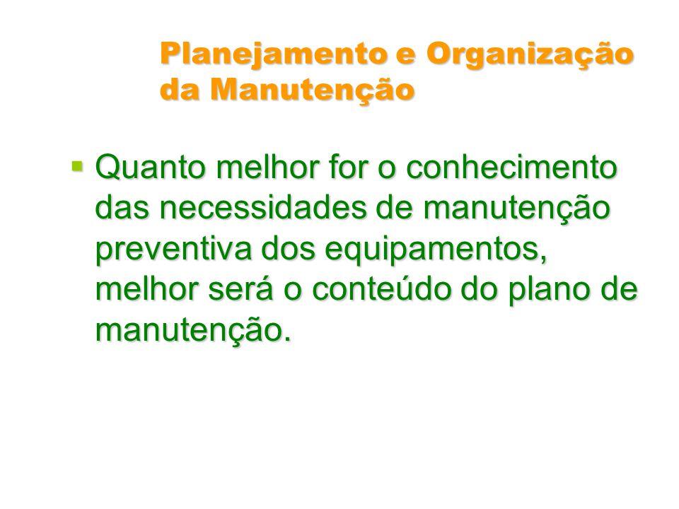 Planejamento e Organização da Manutenção Quanto melhor for o conhecimento das necessidades de manutenção preventiva dos equipamentos, melhor será o co