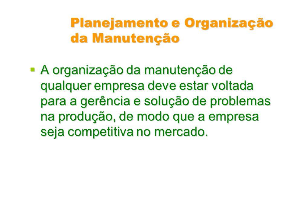Planejamento e Organização da Manutenção A organização da manutenção de qualquer empresa deve estar voltada para a gerência e solução de problemas na