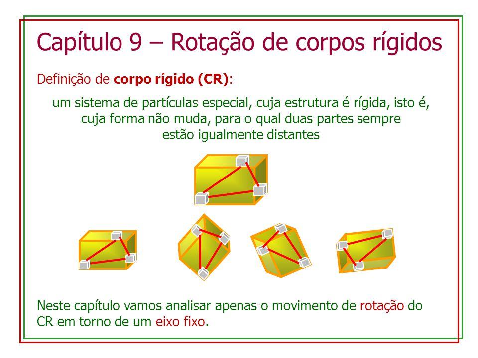 Capítulo 9 – Rotação de corpos rígidos Definição de corpo rígido (CR): um sistema de partículas especial, cuja estrutura é rígida, isto é, cuja forma