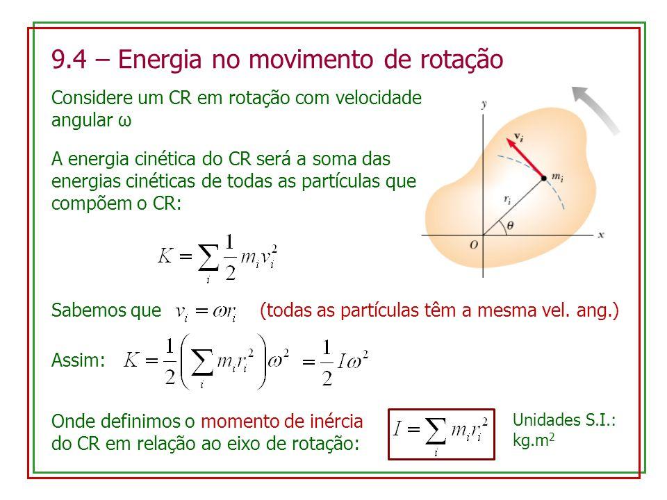 9.4 – Energia no movimento de rotação Considere um CR em rotação com velocidade angular ω A energia cinética do CR será a soma das energias cinéticas de todas as partículas que compõem o CR: Sabemos que (todas as partículas têm a mesma vel.