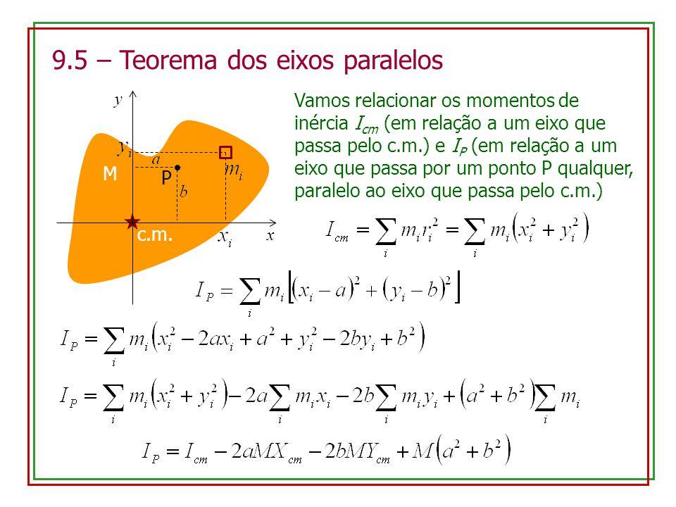 9.5 – Teorema dos eixos paralelos M c.m. P Vamos relacionar os momentos de inércia I cm (em relação a um eixo que passa pelo c.m.) e I P (em relação a