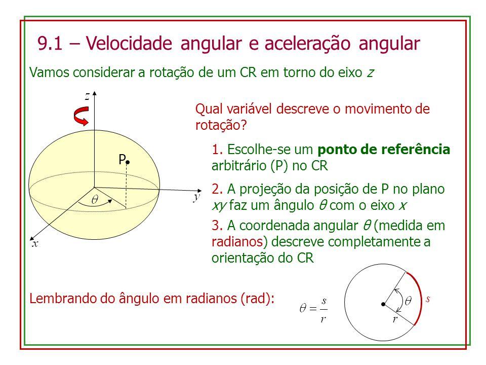 9.1 – Velocidade angular e aceleração angular Vamos considerar a rotação de um CR em torno do eixo z Qual variável descreve o movimento de rotação? P