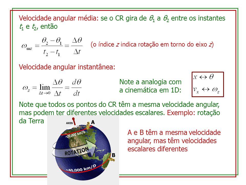 Velocidade angular média: se o CR gira de θ 1 a θ 2 entre os instantes t 1 e t 2, então (o índice z indica rotação em torno do eixo z) Velocidade angular instantânea: Note a analogia com a cinemática em 1D: Note que todos os pontos do CR têm a mesma velocidade angular, mas podem ter diferentes velocidades escalares.