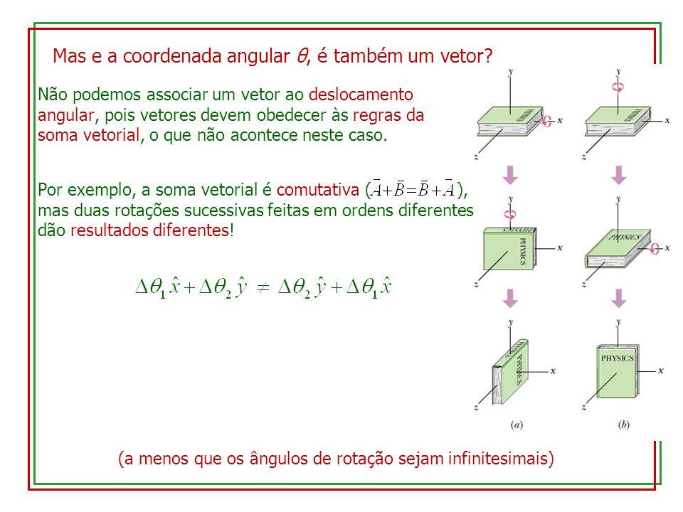 Mas e a coordenada angular θ, é também um vetor? Não podemos associar um vetor ao deslocamento angular, pois vetores devem obedecer às regras da soma