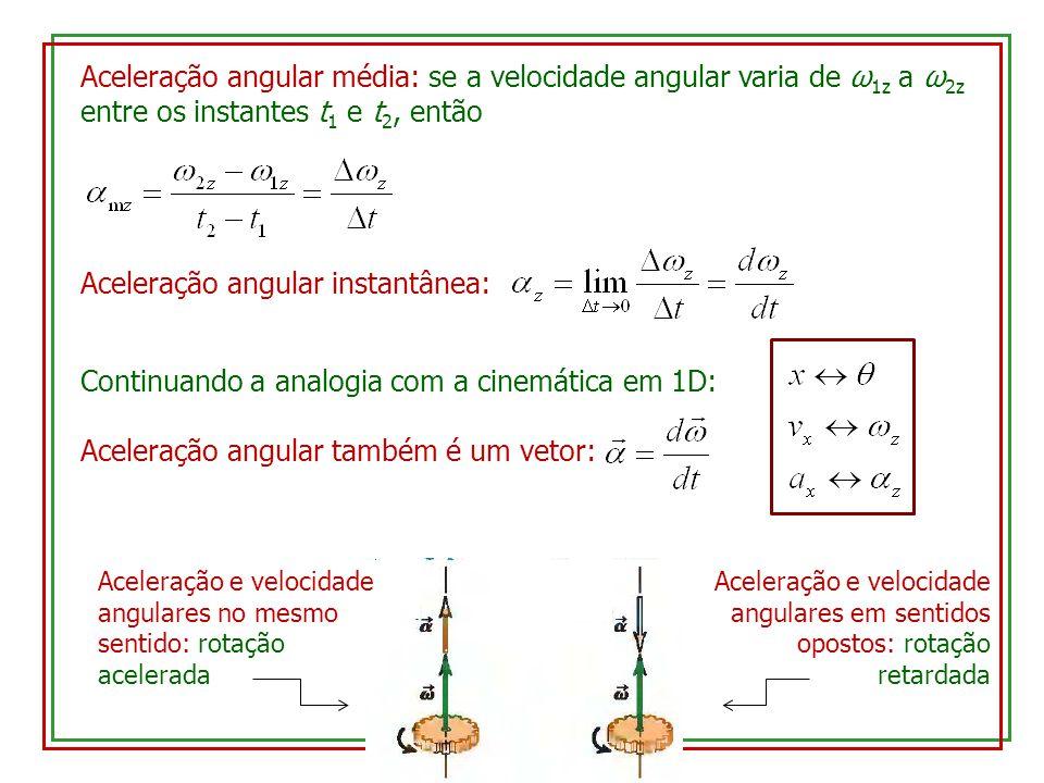 Aceleração angular média: se a velocidade angular varia de ω 1z a ω 2z entre os instantes t 1 e t 2, então Aceleração angular instantânea: Continuando a analogia com a cinemática em 1D: Aceleração angular também é um vetor: Aceleração e velocidade angulares no mesmo sentido: rotação acelerada Aceleração e velocidade angulares em sentidos opostos: rotação retardada