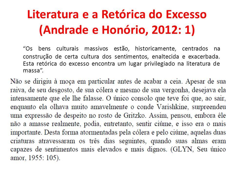 Literatura e a Retórica do Excesso (Andrade e Honório, 2012: 1) Os bens culturais massivos estão, historicamente, centrados na construção de certa cul