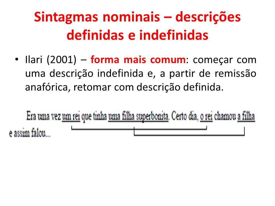 Sintagmas nominais – descrições definidas e indefinidas Ilari (2001) – forma mais comum: começar com uma descrição indefinida e, a partir de remissão