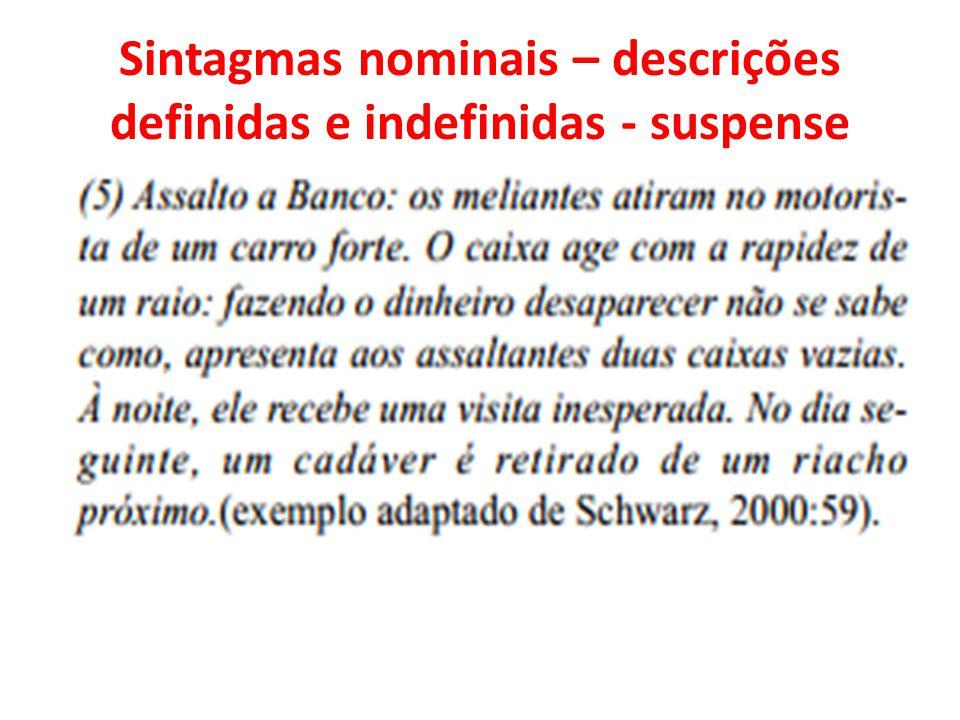 Sintagmas nominais – descrições definidas e indefinidas - suspense