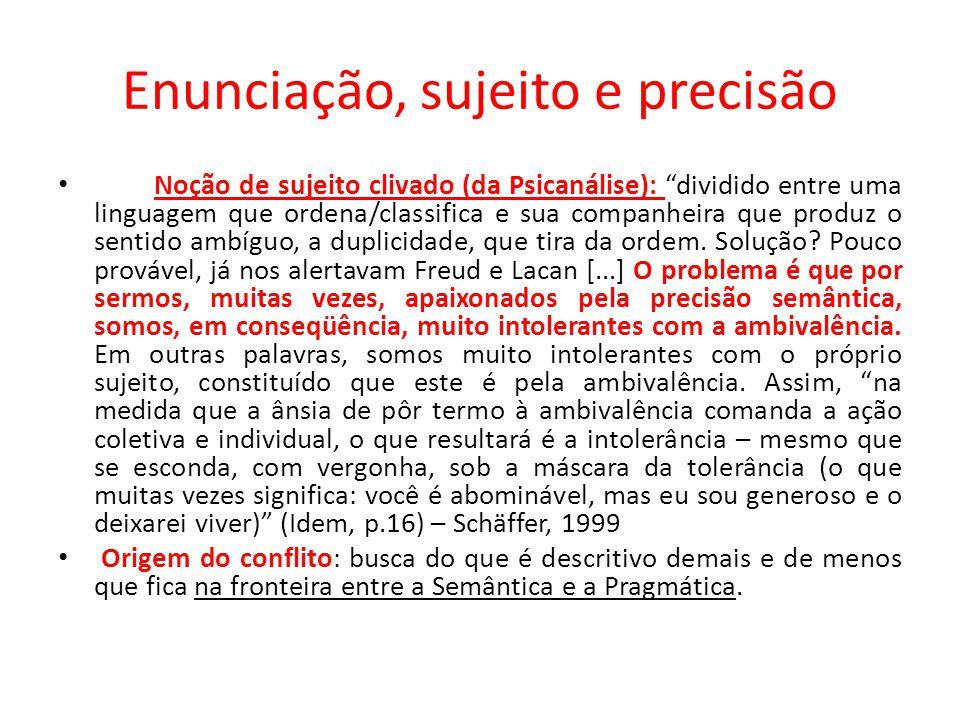 Enunciação, sujeito e precisão Noção de sujeito clivado (da Psicanálise): dividido entre uma linguagem que ordena/classifica e sua companheira que pro