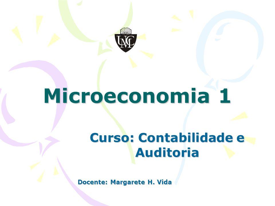 Microeconomia 1 Curso: Contabilidade e Auditoria Docente: Margarete H. Vida