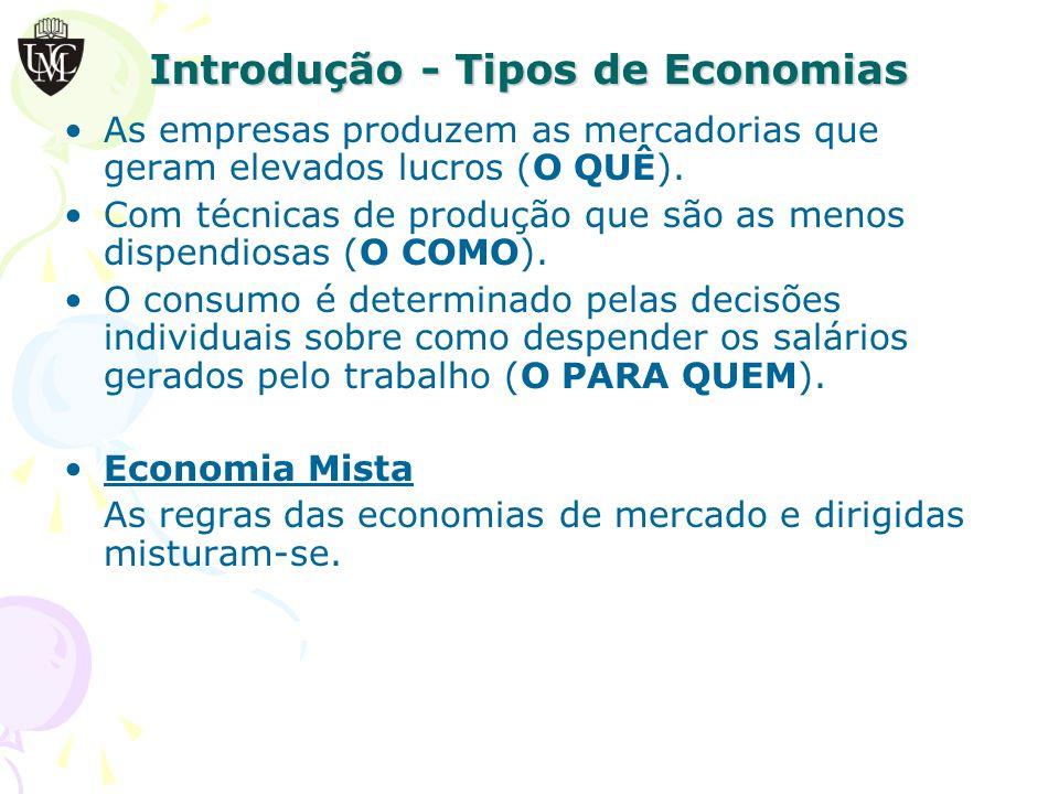 Introdução - Tipos de Economias As empresas produzem as mercadorias que geram elevados lucros (O QUÊ).
