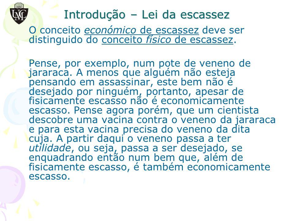 Introdução – Lei da escassez O conceito económico de escassez deve ser distinguido do conceito físico de escassez.