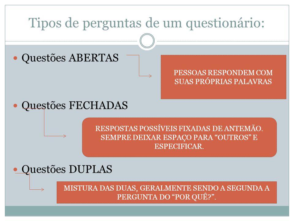 Tipos de perguntas de um questionário: Questões ABERTAS Questões FECHADAS Questões DUPLAS PESSOAS RESPONDEM COM SUAS PRÓPRIAS PALAVRAS RESPOSTAS POSSÍ