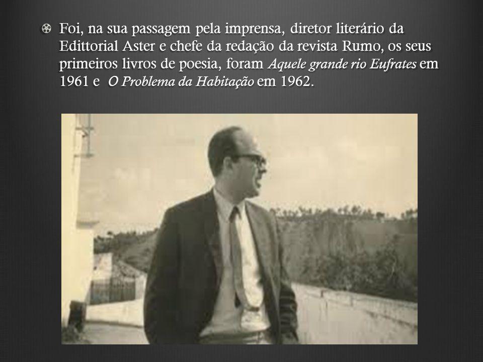 Foi, na sua passagem pela imprensa, diretor literário da Edittorial Aster e chefe da redação da revista Rumo, os seus primeiros livros de poesia, fora