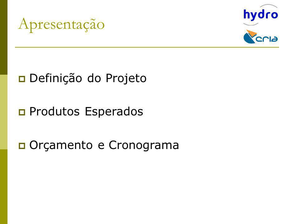 Apresentação Definição do Projeto Produtos Esperados Orçamento e Cronograma