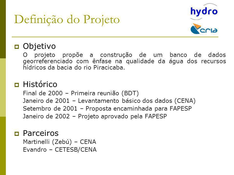 Objetivo O projeto propõe a construção de um banco de dados georreferenciado com ênfase na qualidade da água dos recursos hídricos da bacia do rio Pir