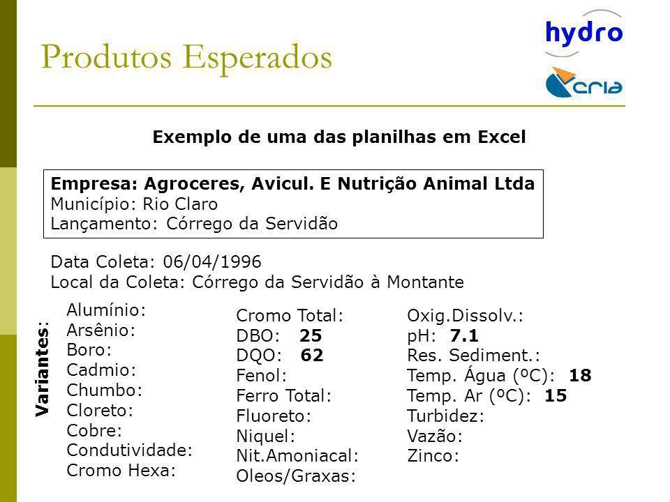 Produtos Esperados Exemplo de uma das planilhas em Excel Empresa: Agroceres, Avicul. E Nutrição Animal Ltda Município: Rio Claro Lançamento: Córrego d