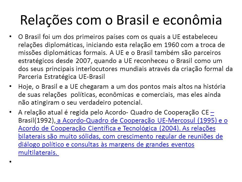 Relações com o Brasil e econômia O Brasil foi um dos primeiros países com os quais a UE estabeleceu relações diplomáticas, iniciando esta relação em 1960 com a troca de missões diplomáticas formais.