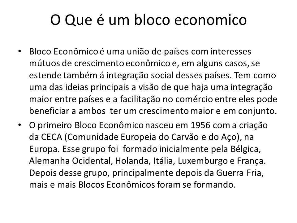 O Que é um bloco economico Bloco Econômico é uma união de países com interesses mútuos de crescimento econômico e, em alguns casos, se estende também á integração social desses países.