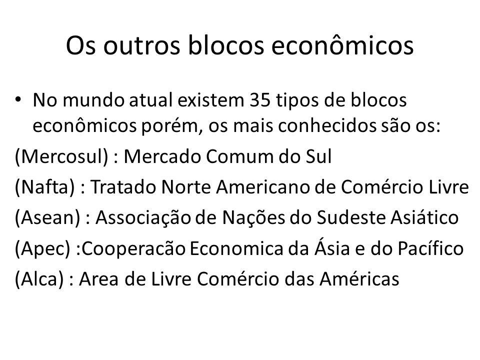 Os outros blocos econômicos No mundo atual existem 35 tipos de blocos econômicos porém, os mais conhecidos são os: (Mercosul) : Mercado Comum do Sul (Nafta) : Tratado Norte Americano de Comércio Livre (Asean) : Associação de Nações do Sudeste Asiático (Apec) :Cooperacão Economica da Ásia e do Pacífico (Alca) : Area de Livre Comércio das Américas