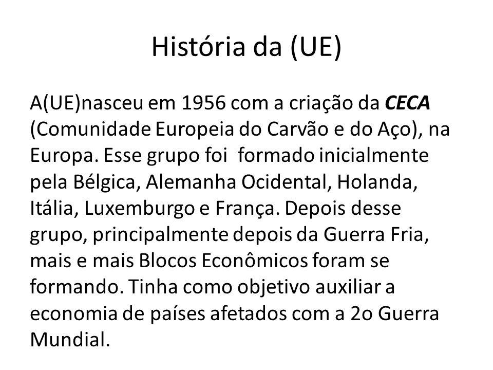 História da (UE) A(UE)nasceu em 1956 com a criação da CECA (Comunidade Europeia do Carvão e do Aço), na Europa. Esse grupo foi formado inicialmente pe