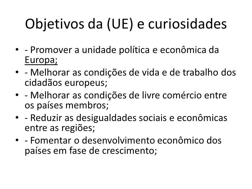 Objetivos da (UE) e curiosidades - Promover a unidade política e econômica da Europa; - Melhorar as condições de vida e de trabalho dos cidadãos europ