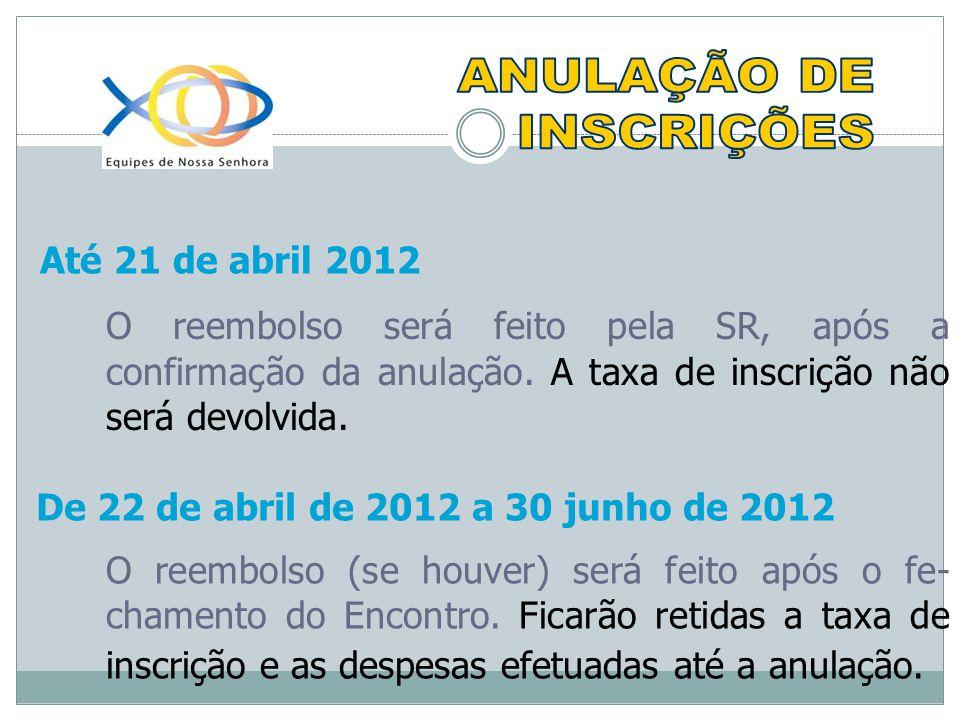 Até 21 de abril 2012 O reembolso será feito pela SR, após a confirmação da anulação.