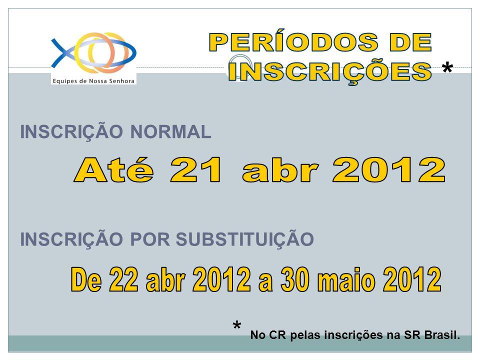 * No CR pelas inscrições na SR Brasil. INSCRIÇÃO NORMAL INSCRIÇÃO POR SUBSTITUIÇÃO *