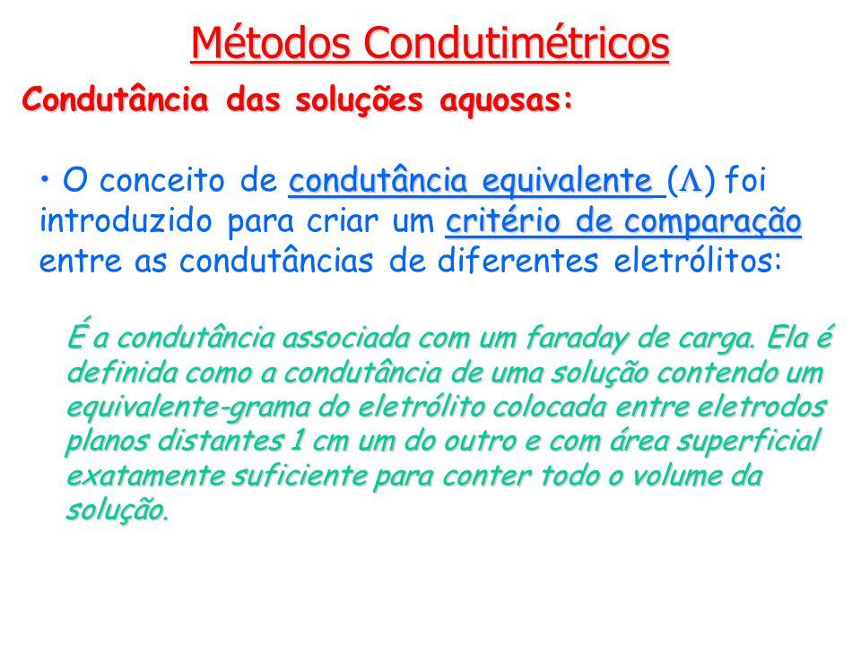 Métodos Condutimétricos Condutância das soluções aquosas: condutância equivalente critério de comparação O conceito de condutância equivalente ( ) foi