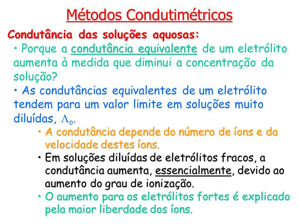 Métodos Condutimétricos Condutância das soluções aquosas: condutância equivalente Porque a condutância equivalente de um eletrólito aumenta à medida q
