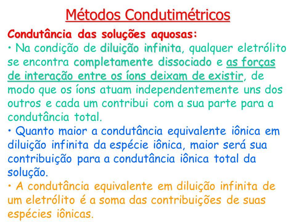 Métodos Condutimétricos Condutância das soluções aquosas: diluição infinita completamente dissociadoas forças de interação entre os íons deixam de exi
