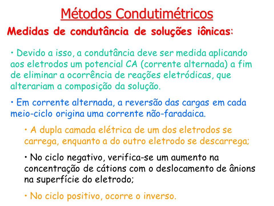 Métodos Condutimétricos Medidas de condutância de soluções iônicas: Devido a isso, a condutância deve ser medida aplicando aos eletrodos um potencial