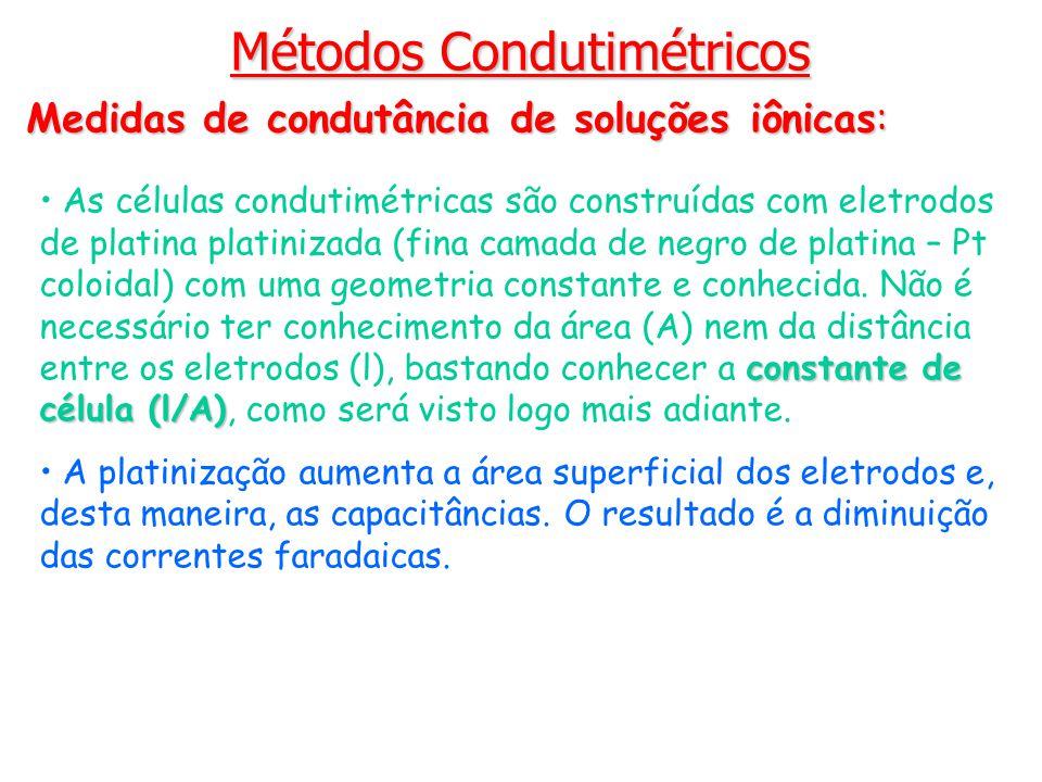 Métodos Condutimétricos Medidas de condutância de soluções iônicas: constante de célula (l/A) As células condutimétricas são construídas com eletrodos
