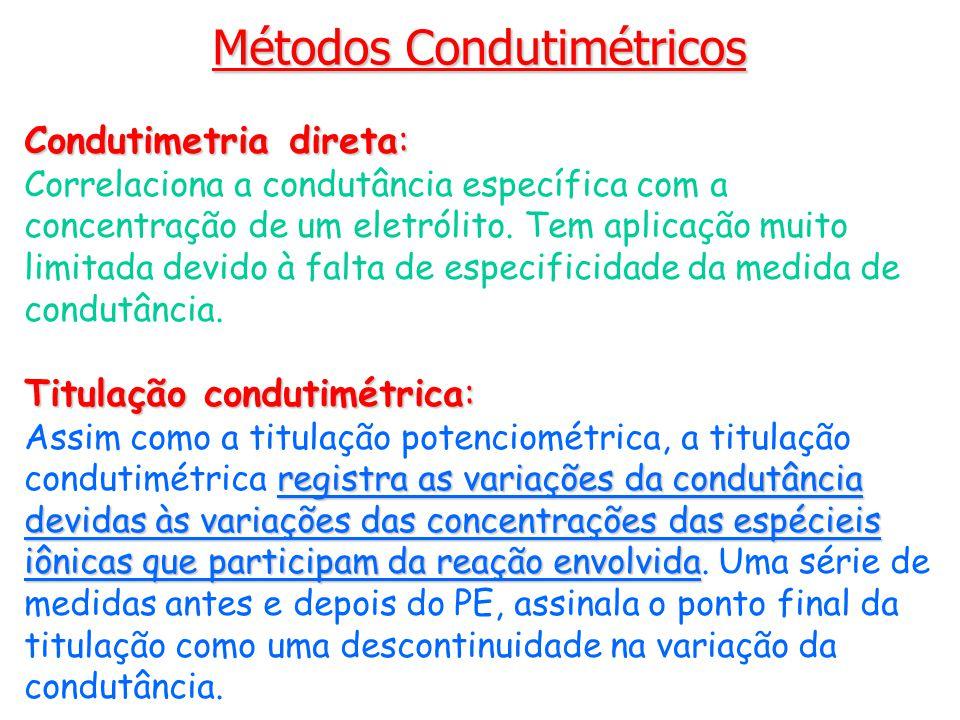 Métodos Condutimétricos Condutimetria direta: Correlaciona a condutância específica com a concentração de um eletrólito. Tem aplicação muito limitada