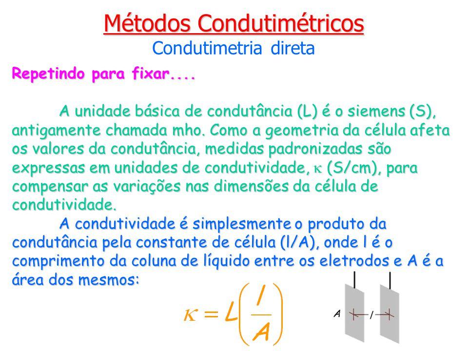 Repetindo para fixar.... A unidade básica de condutância (L) é o siemens (S), antigamente chamada mho. Como a geometria da célula afeta os valores da