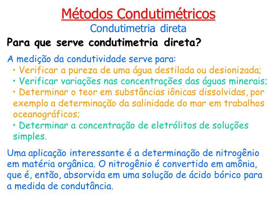 Para que serve condutimetria direta? A medição da condutividade serve para: Verificar a pureza de uma água destilada ou desionizada; Verificar variaçõ