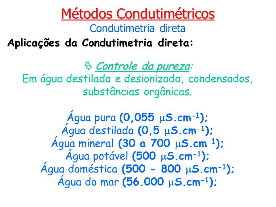 Aplicações da Condutimetria direta: Controle da pureza Controle da pureza: Em água destilada e desionizada, condensados, substâncias orgânicas. Água p