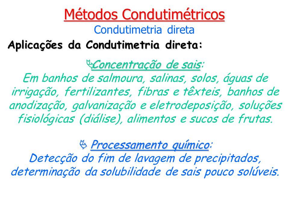 Processamento químico Processamento químico: Detecção do fim de lavagem de precipitados, determinação da solubilidade de sais pouco solúveis. Concentr