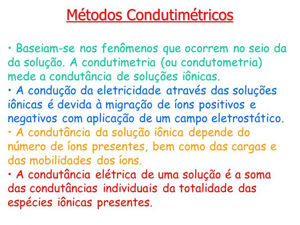 Métodos Condutimétricos Baseiam-se nos fenômenos que ocorrem no seio da da solução. A condutimetria (ou condutometria) mede a condutância de soluções