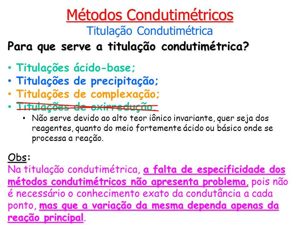 Para que serve a titulação condutimétrica? Titulações ácido-base; Titulações de precipitação; Titulações de complexação; Titulações de oxirredução. Nã
