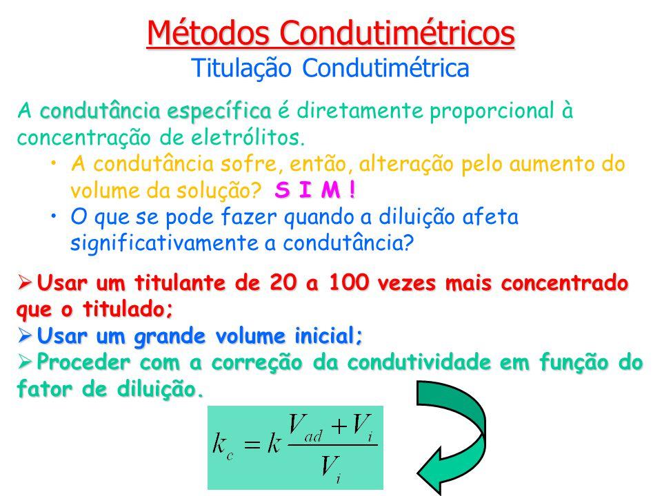condutância específica A condutância específica é diretamente proporcional à concentração de eletrólitos. A condutância sofre, então, alteração pelo a