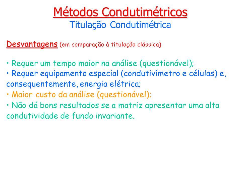 Desvantagens () Desvantagens (em comparação à titulação clássica) Requer um tempo maior na análise (questionável); Requer equipamento especial (condut