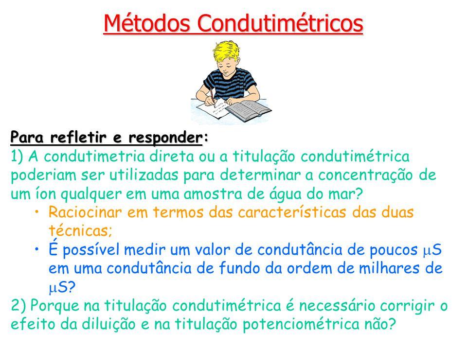 Para refletir e responder: 1) A condutimetria direta ou a titulação condutimétrica poderiam ser utilizadas para determinar a concentração de um íon qu